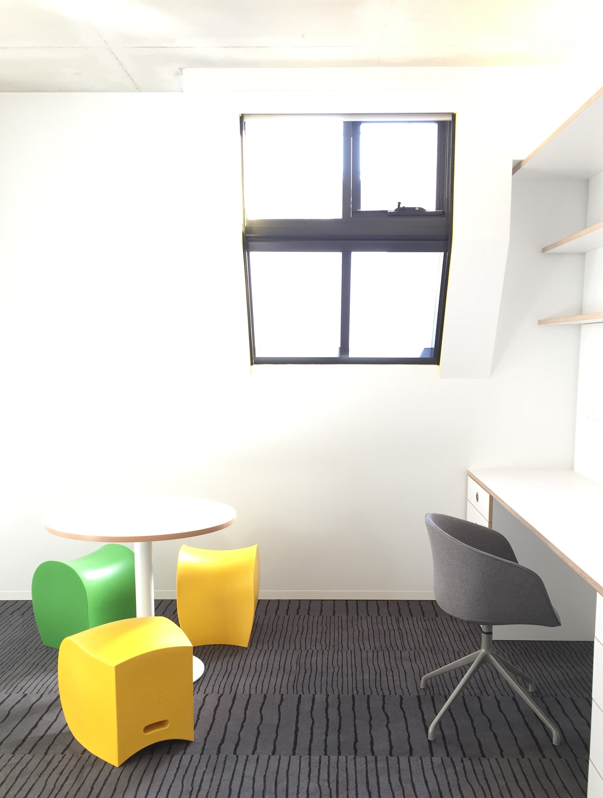 Scape Abercrombie St_Grey Swivel Chair, 900mm Table and Scape Stool Green and Yellow