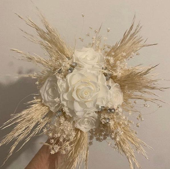 Bouquet mariage fleurs séchées roses éternelles style bohème chic