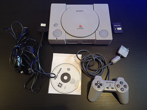 PlayStation 1 gray  chip Modded + Memory card + game