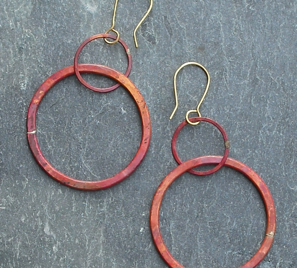 Copper Link Earrings with Red Patina    $55