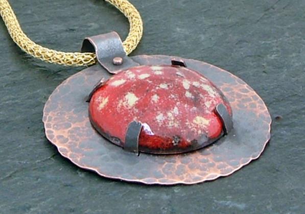 Tab Set Enameled Copper Pendant on Viking Knit Chain    $80