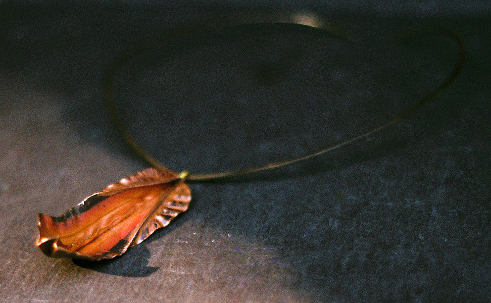 Copper Pendant with Torch-Fired Patina on a Forged Neck Wire    $80