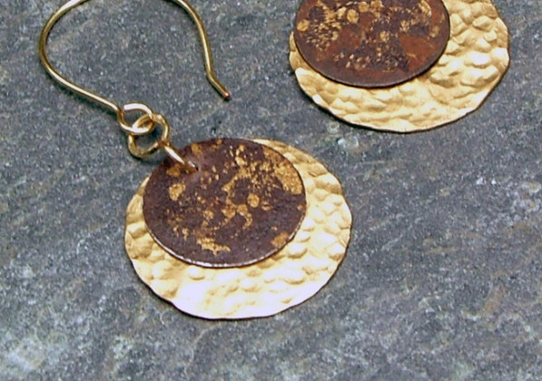 Forged Brass & Printed Rusted Tin Earrings    $35