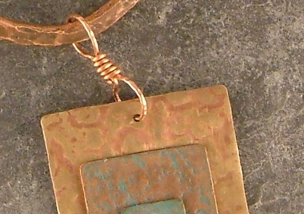 Forged Copper Pendant with Silver Rivet on a Forged Neck Wire    $80