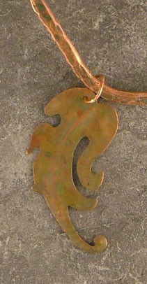 Verdigris Copper Pendant on a Forged Neck Wire    $80