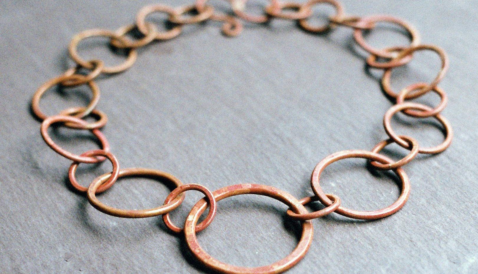 Copper Chain with Torch-Fired Golden Red Patina    $150