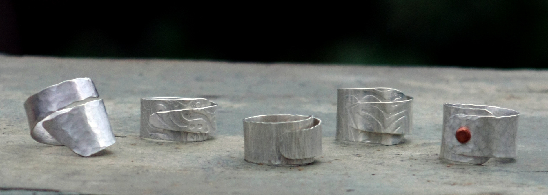 Imprinted Sterling Wrap Rings    $100 ea.