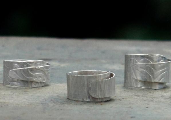 Imprinted Sterling Wrap Rings    $100 ea.