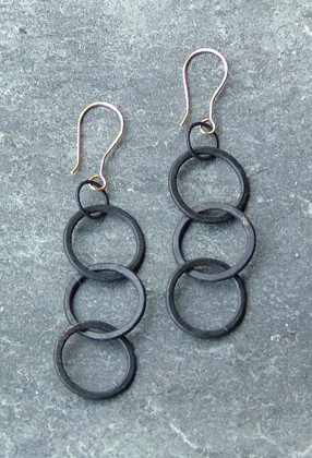Copper Link Earrings with Oxidized Patina    $55