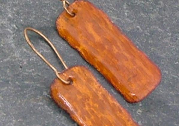 Enameled Copper Earrings    $30