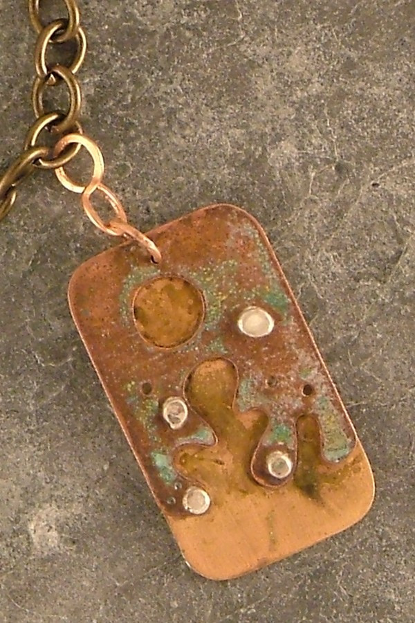 Copper Pendant with Silver Rivets on Chain    $80