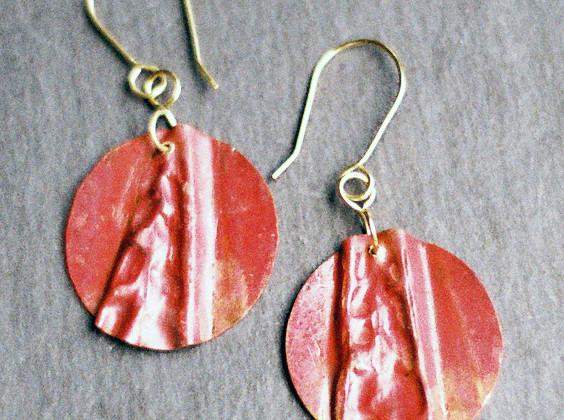 Fold Formed Copper Earrings    $50