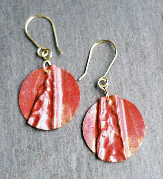 Fold Formed Copper Earrings    $50