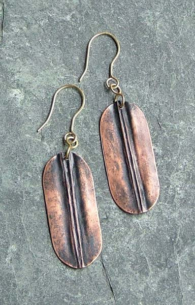 Oxidized Copper Earrings    $55