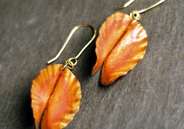 Fold Formed Copper Earrings    $60