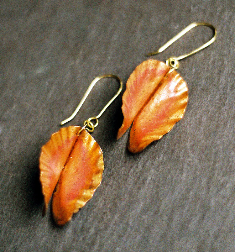 Fold Formed Copper Earrings    $60