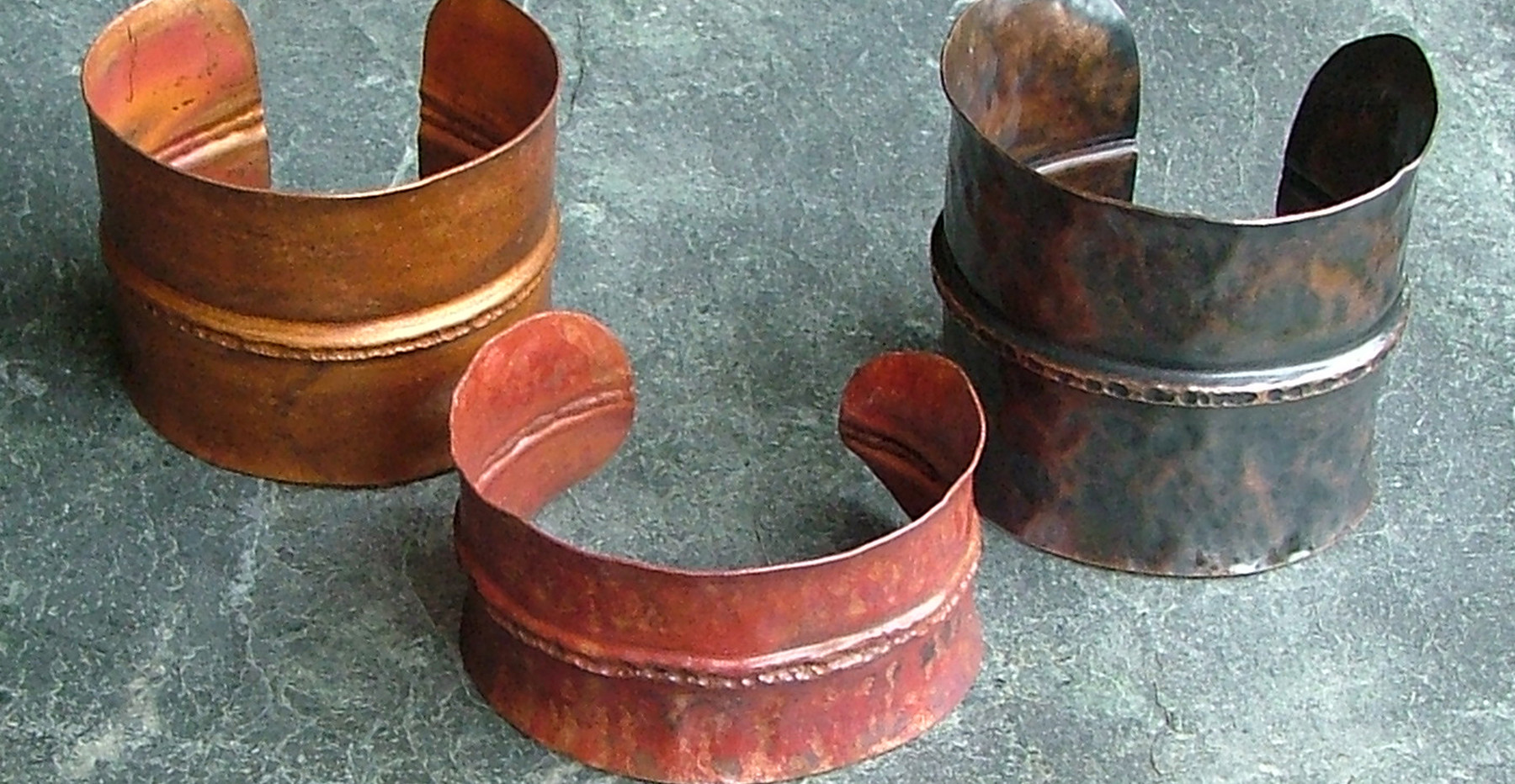 Copper Cuffs with Various Patinas    $65-$80 ea.