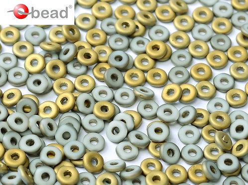 Czech O Beads 2x4mm - Chalk White Amber Matted