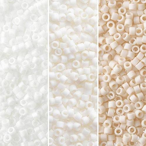 Miyuki Delica 11/0 Palette - White Cream Matte Opaque Palette