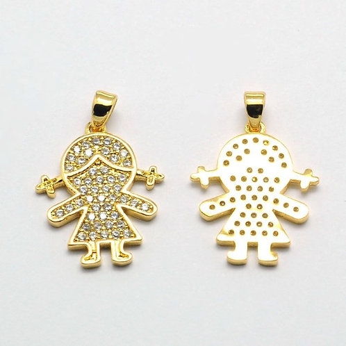 Micro Pavé 18K Gold Plated Girl Pendant