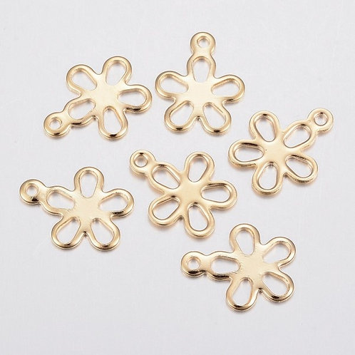 Stainless Steel Gold Flower Charms