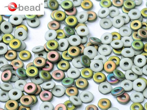Czech O Beads 2x4mm - Chalk White Vitrail Matted 8.3g