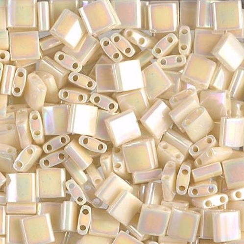 Miyuki Tila Beads 5mm - Ivory Pearl Ceylon AB 10g