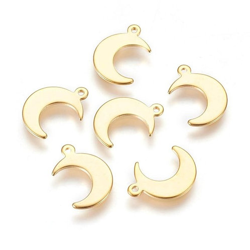 Stainless Steel Moon Charms