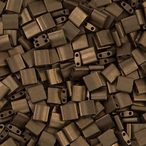 Miyuki Tila Beads 5mm - Matte Metallic Dark Bronze 10g