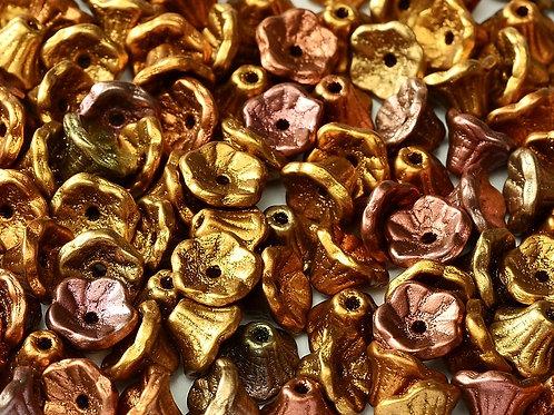 Czech Flower Cup Beads 7x5mm - Metallic Mix 8g