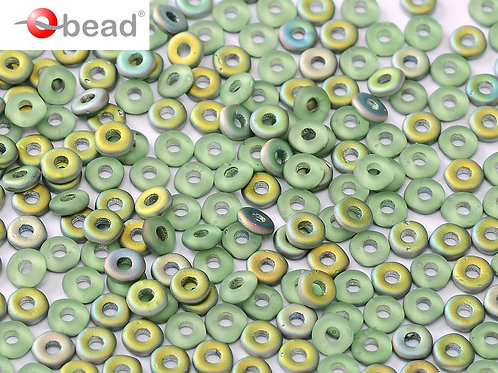 Czech O Beads 2x4mm - Peridot Vitrail Matted 8.3g