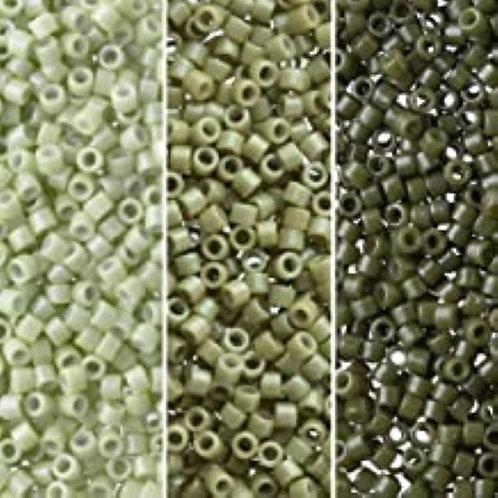 Miyuki Delica 11/0 Palette - Duracoat Cactus Fennel Armdy Green Palette