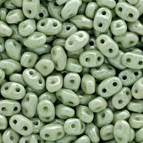 Matubo Superduo Beads - Chalk Green Luster Light