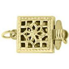 Gold Filled 14KT 9MM SQUARE FILIGREE PEARL 1 ROW CLASP