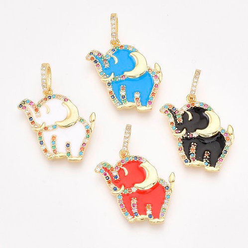 Micro Pavé Enamel Elephant Pendant