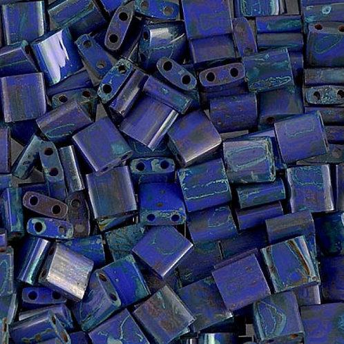 Miyuki Tila Beads 5mm - Picasso Opaque Cobalt