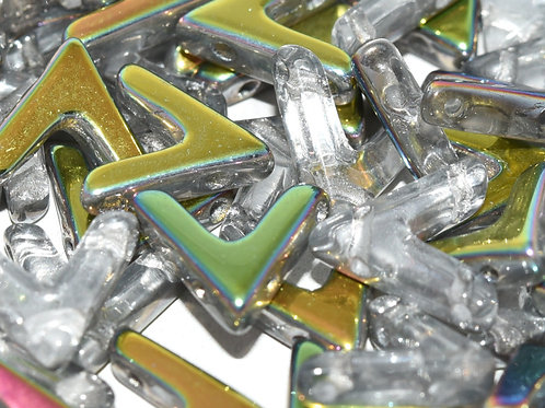 Czech Glas 4-hole  AVA Beads - Crystal Vitrail 20pcs