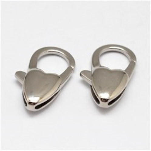 304 Stainless Steel Lobster Claw Clasps - Heart Shape