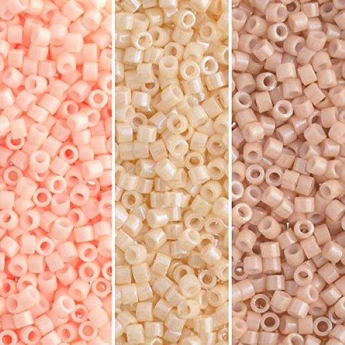 Miyuki Delica 11/0 Palette - Peach and Cream Opaque Luster Palette