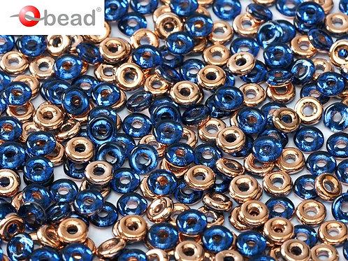 Czech O Beads 2x4mm - Saphire Capri Gold 8.3g