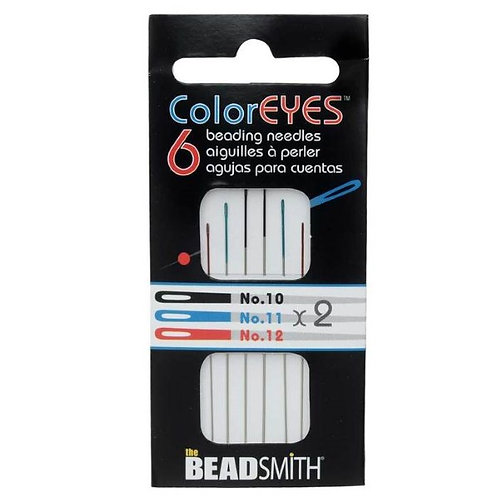 BeadSmith Coloreyes Assorted Size Needles - Package of 6 needles