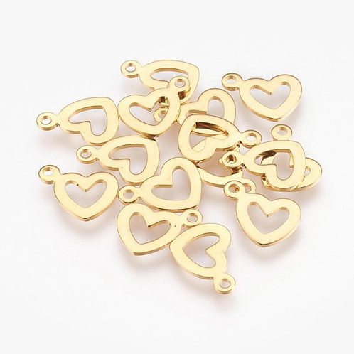 Stainless Steel Gold Heart Charms