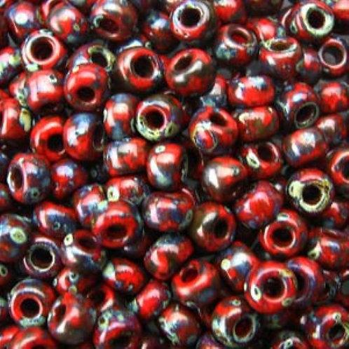 Miyuki 8/0 Round Rocaille Seed Beads - Picasso Opaque Red Garnet 22g