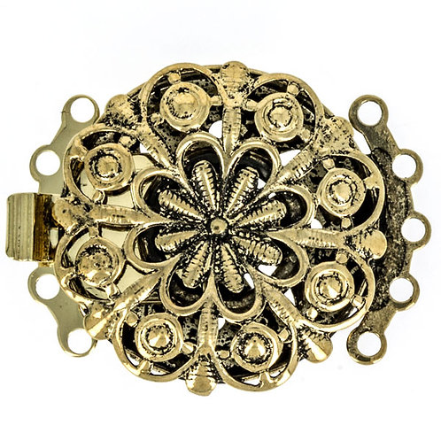 Claspgarten 5 Rows Tongue Clasp - Old Gold Plated