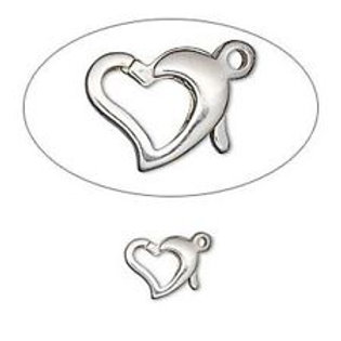 FLOATING HEART CAST CLASP  STERLING SILVER .925
