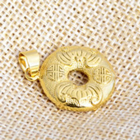 24 kt Gold Plated Pendant Flat Round Donut Shape