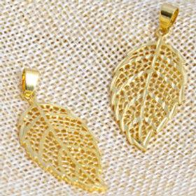 24kt Gold Plated Brass Pendant - Leaf