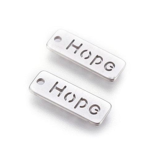 Stainless Steel Rectangle Hope Pendants