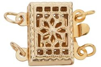 Square Filigree 14kt Gold Filled 9MM 2 Row Clasp