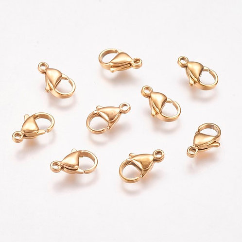 304 Stainless Steel Lobster Claw Clasps 12.5mm